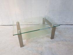 glazen tv meubek RVS