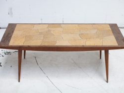 Vintage salontafel teakhout en stenen tegels