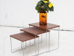 Miniset nestig tables teakhout Brabantia tafeltjes uit jaren 60